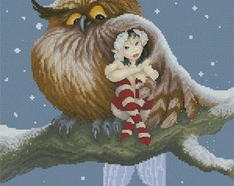 Cross Stitch Chart  Fairy and Owl by Pascal Moguerou