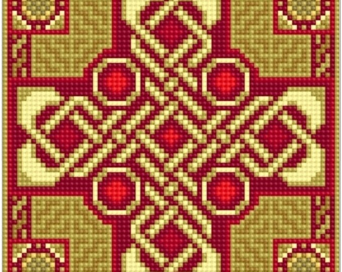 Celtic Cross Needlepoint canvas with color chart cross stitch