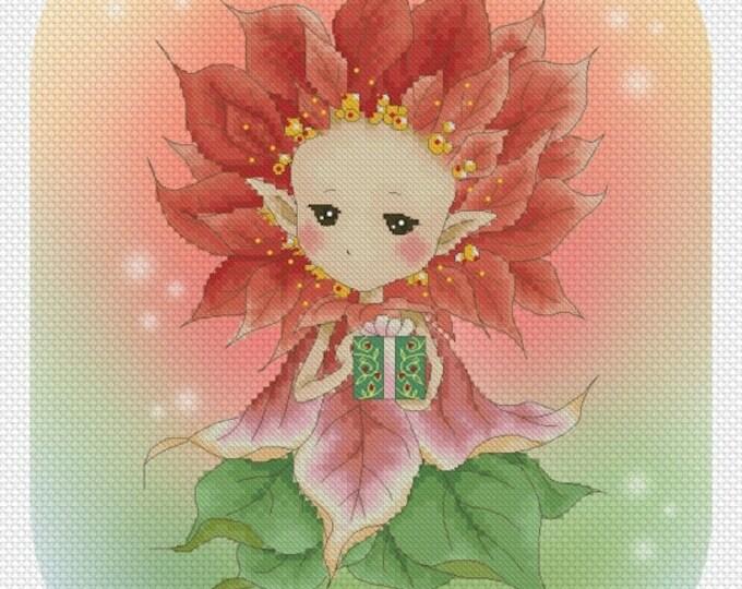 Cross stitch Chart Pattern Flower Sprites -  Poinsettia Sprite