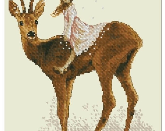 Cross Stitch Chart Fairy Deer - Art of Jean-Baptiste Monge