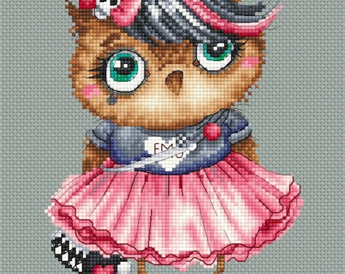 Cross stitch chart pattern Owl Emo