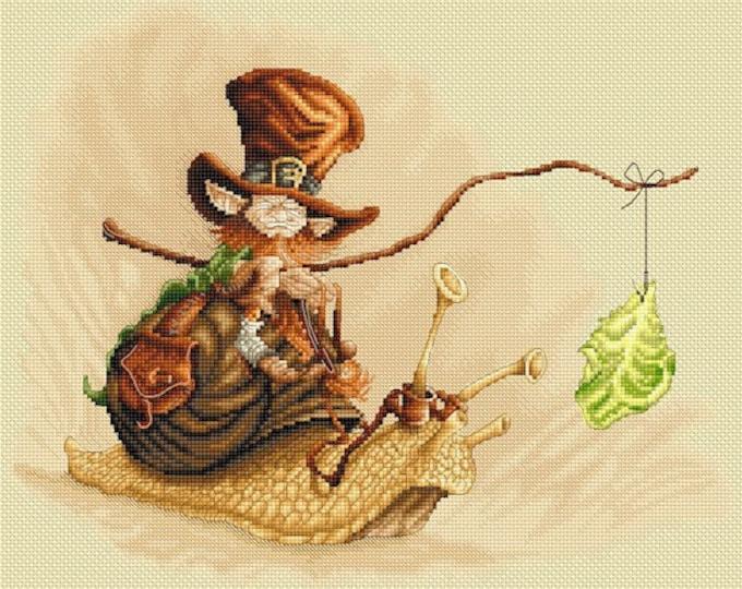 Cross Stitch Chart Snail Ride by Pascal Moguerou Fantasy Art