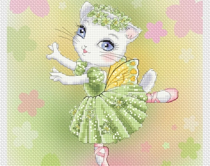 Emerald Ballerina Kitty Mitzi Sato-Wiuff - Cross stitch Chart Pattern