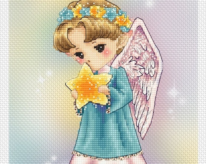 Christmas Angel with a Star Art of Mitzi Sato-Wiuff - Cross stitch Chart Pattern