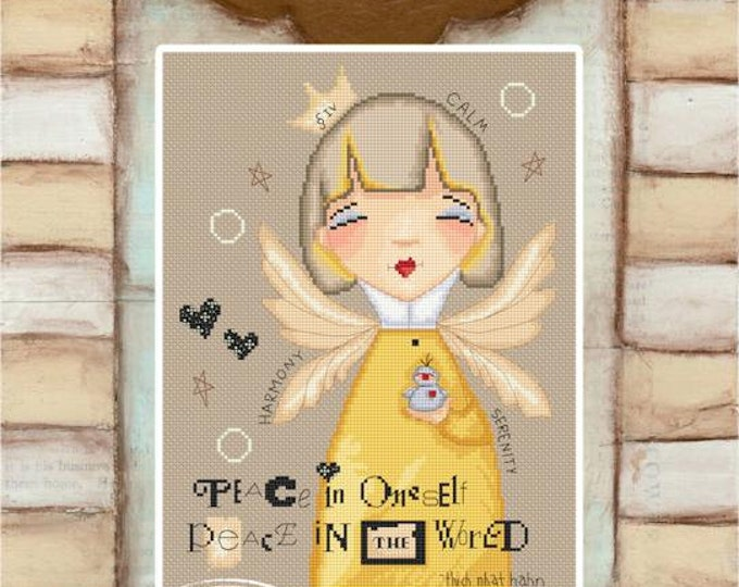 Piece Within Angel - art of Diane Duda - Cross stitch chart pattern -Lena Lawson Needlearts