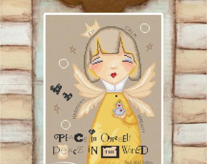 Piece Within Angel - art of Diane Duda - Cross stitch chart pattern -Lena Lawson Needlearts