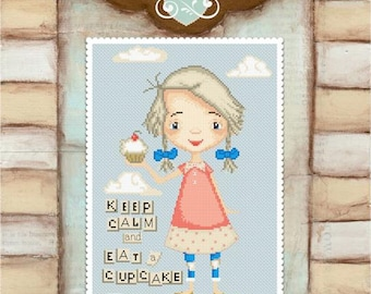Keep calm and eat a cupcake - art of Diane Duda - Cross stitch chart pattern -Lena Lawson Needlearts