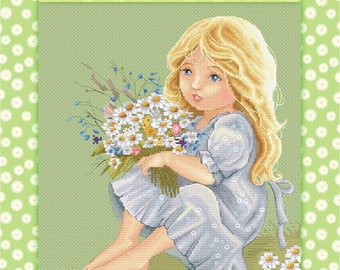 Daisy - Katerina Babok Girls Cross Stitch and Needlepoint Chart Pattern