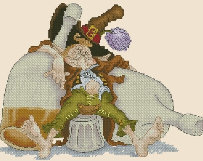 Cross Stitch Chart Drunken Gnome by Pascal Moguerou Fantasy Art