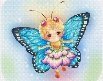 Butterfly Blue Sprite Mitzi Sato-Wiuff - Cross stitch Chart Pattern