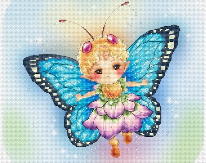 Butterfly Blue Sprite Mitzi Sato-Wiuff - Cross stitch Chart Pattern
