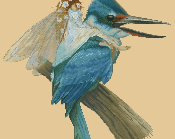Cross Stitch Cart Pattern or Kit Fairy on Kingfisher Bird by Jean-Baptiste Monge