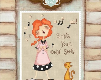 Sing your own song - art of Diane Duda - Cross stitch chart pattern -Lena Lawson Needlearts