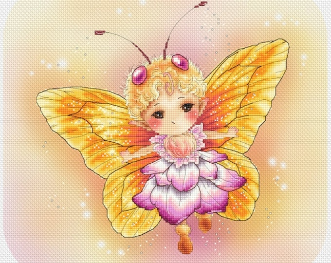 Butterfly Yellow Sprite Mitzi Sato-Wiuff - Cross stitch Chart Pattern