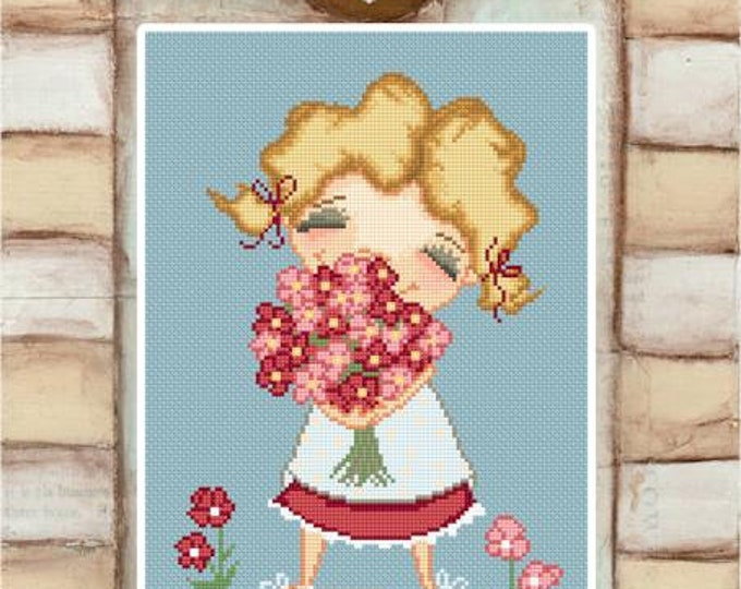 Smells like spring - art of Diane Duda - Cross stitch chart pattern -Lena Lawson Needlearts