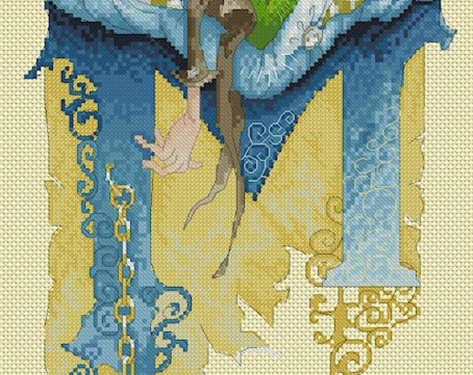 Cross Stitch Chart Illuminated Letter M Gnome by Pascal Moguerou Fantasy Art