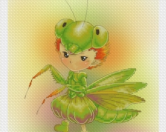 Praying Mantis Sprite Mitzi Sato-Wiuff - Cross stitch Chart Pattern