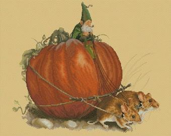 Cross Stitch Chart Gnome Mice Pumpkin Harvest by Jean-Baptiste Monge