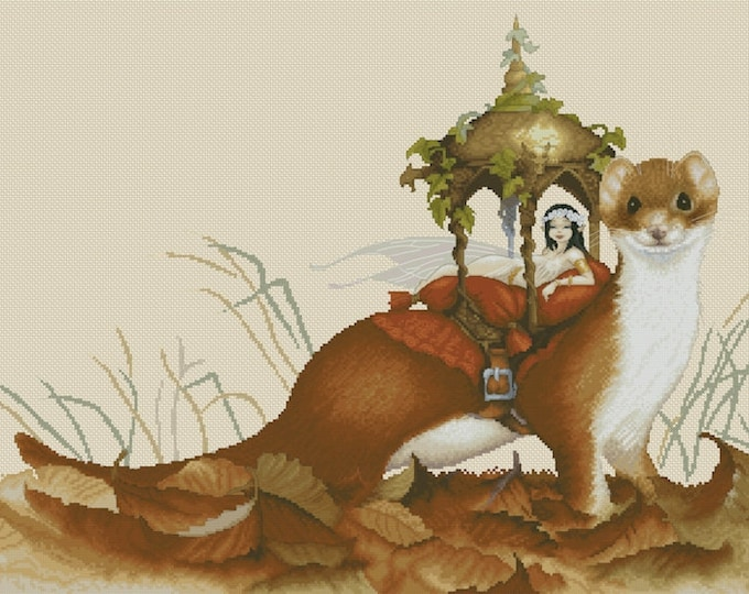 Cross Stitch Chart Fairy in Ferret Carriage by Pascal Moguerou Fantasy Art