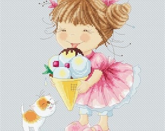 Honey's Sweet Treats - Ice-cream for Kitty Cross Stitch Needlepoint Chart Pattern and Kit