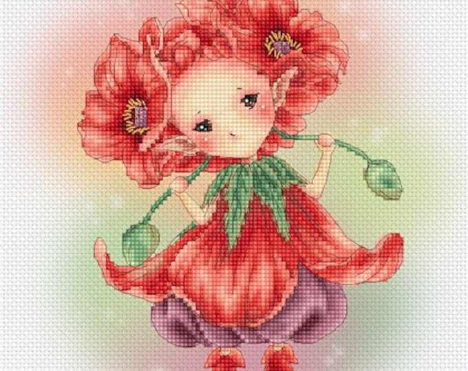 Cross stitch Chart Pattern Flower Sprites -  Poppy Sprite