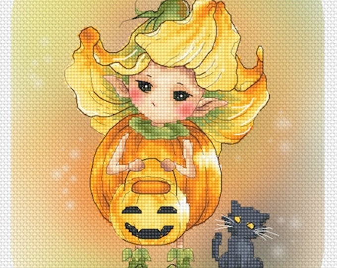 Pumpkin Flower Sprite Mitzi Sato-Wiuff - Cross stitch Chart Pattern