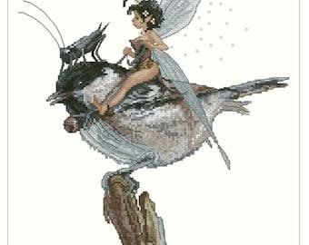 Cross Stitch Chart Fairy Bird Fantasy Series by Lena Lawson Needlearts - Art of Jean-Baptiste Monge