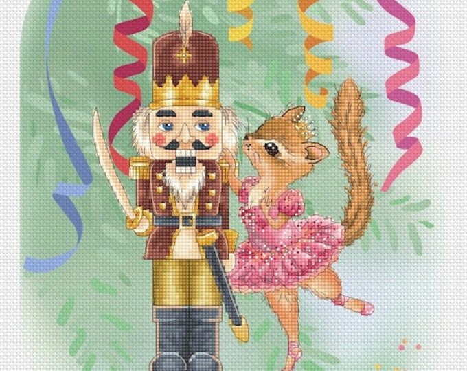 Cross stitch Chart Pattern Sugar Plum Fairy and Nutcracker