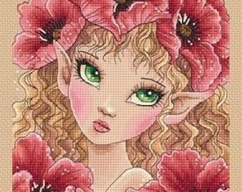 Big Eyes Poppy Fairy Mitzi Sato-Wiuff - Cross stitch Chart Pattern