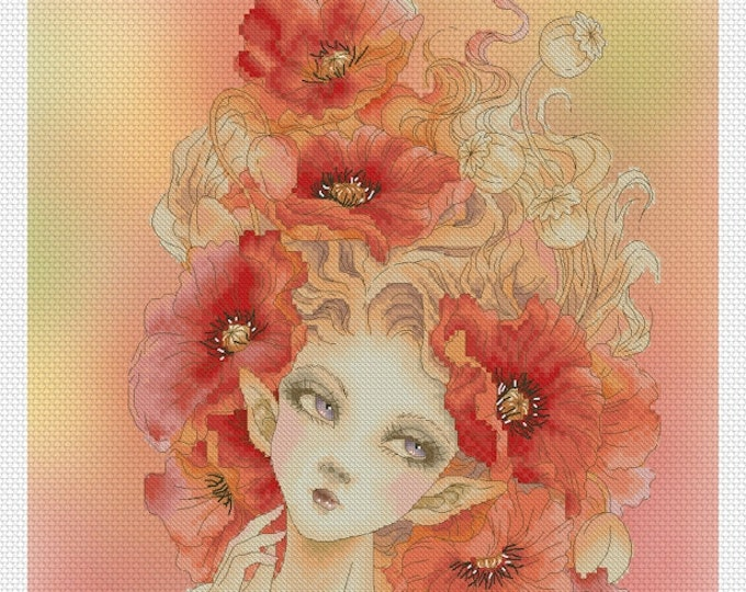 Red Poppy Fairy by Mitzi Sato-Wiuff - Cross stitch Chart Pattern