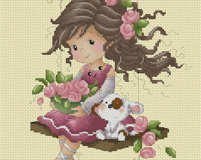 DISCONTINUED Emily by Sylvia Zet  - Cross Stitch Needlepoint Chart Pattern