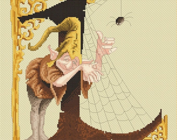 Cross Stitch Chart Cobweb Letter L by Pascal Moguerou Fantasy Art