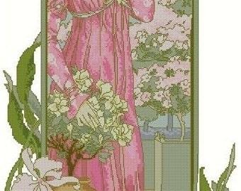 Cross Stitch Needlepoint Chart Pattern Canvas Art Nouveau Elizabeth Sonrel Fleurs des Serre