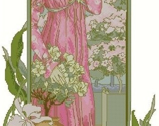 50% OFF Cross Stitch Needlepoint Chart Pattern Canvas Art Nouveau Elizabeth Sonrel Fleurs des Serre