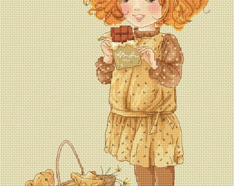French Chocolate - Katerina Babok Girls Cross Stitch and Needlepoint Chart Pattern