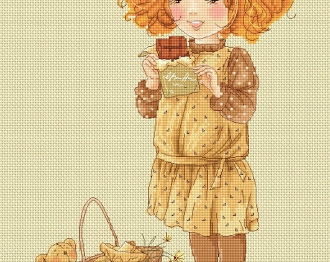 French Chocolate - Katerina Babok Girls Cross Stitch and Needlepoint Chart Pattern