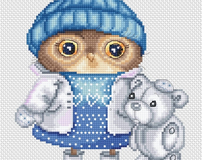 Cross stitch chart pattern Owl Owlet Penny Snow Dressed for Snow by Inga Paltser
