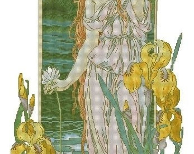 50% OFF Cross Stitch Needlepoint Chart Pattern Canvas Art Nouveau Elizabeth Sonrel Fleurs des Eaux