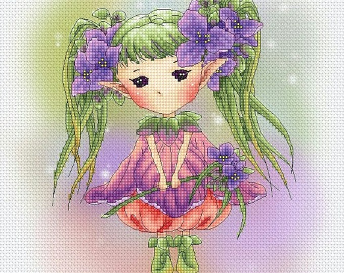 Cross stitch Chart Pattern Flower Sprites - Spiderwort Sprite