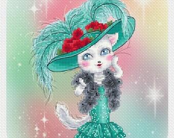 Hollywood Kitty (Beads included) Mitzi Sato-Wiuff - Cross stitch Chart Pattern