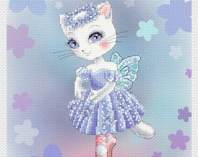 Sapphire Ballerina Kitty by Mitzi Sato-Wiuff - Cross stitch Chart Pattern