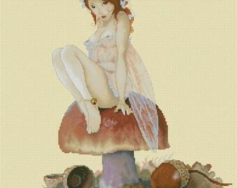 Cross Stitch Chart Mushroom Fairy Jean-Baptiste Monge