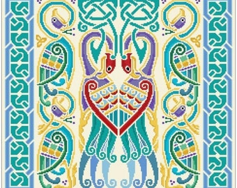 Celtic Peacocks Cushion Needlepoint canvas with color chart cross stitch