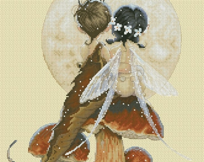 Cross Stitch Chart Fairies Lovers Jean-Baptiste Monge