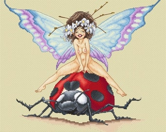 Cross Stitch Chart Ladybug Ride by Pascal Moguerou Fantasy Art