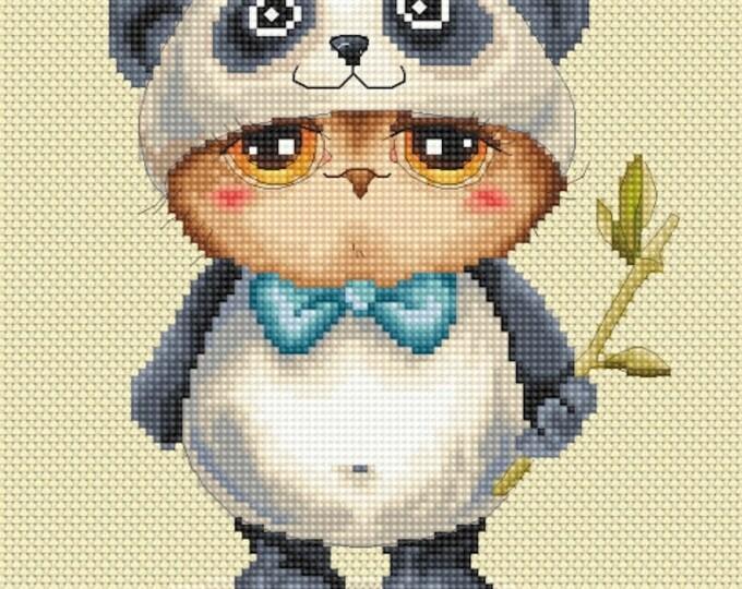 Cross stitch chart pattern Owl owlet Panda Costume