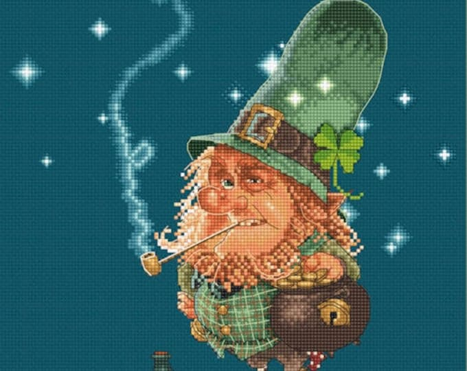 Cross Stitch Chart Leprechaun and Sparkling Gold - Art of Jean-Baptiste Monge