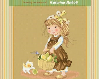 Zoe's Pears Basket - Katerina Babok Girls Cross Stitch and Needlepoint Chart Pattern