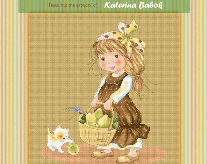 Zoe's Pears Basket - Katerina Babok Girls Cross Stitch and Needlepoint Chart Pattern