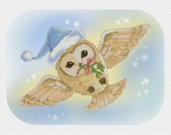Christmas Owl Mitzi Sato-Wiuff - Cross stitch Chart Pattern
